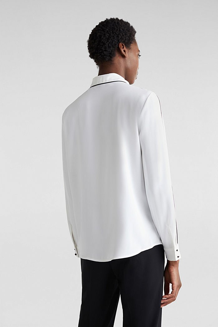 Crêpe-Bluse mit Kontrast-Paspelierungen, OFF WHITE, detail image number 3