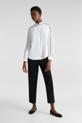 Crêpe blouse with contrast piping, OFF WHITE, detail
