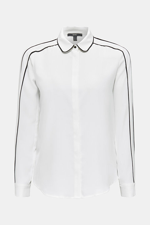 Crêpe blouse with contrast piping