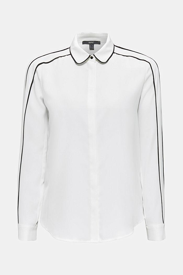 Crêpe-Bluse mit Kontrast-Paspelierungen, OFF WHITE, detail image number 8
