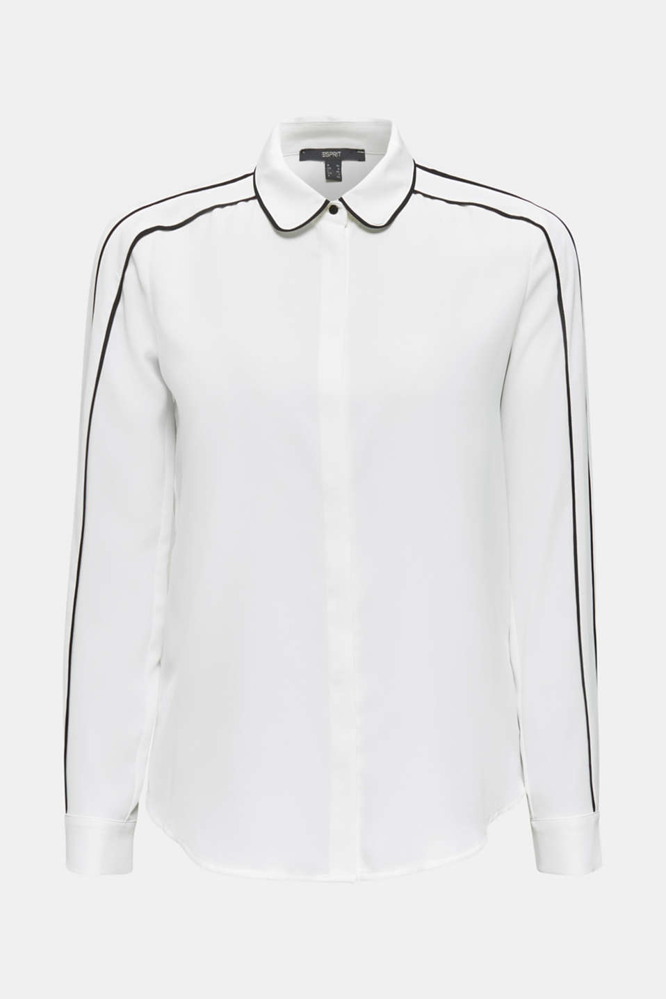 Crêpe blouse with contrast piping, OFF WHITE, detail image number 8