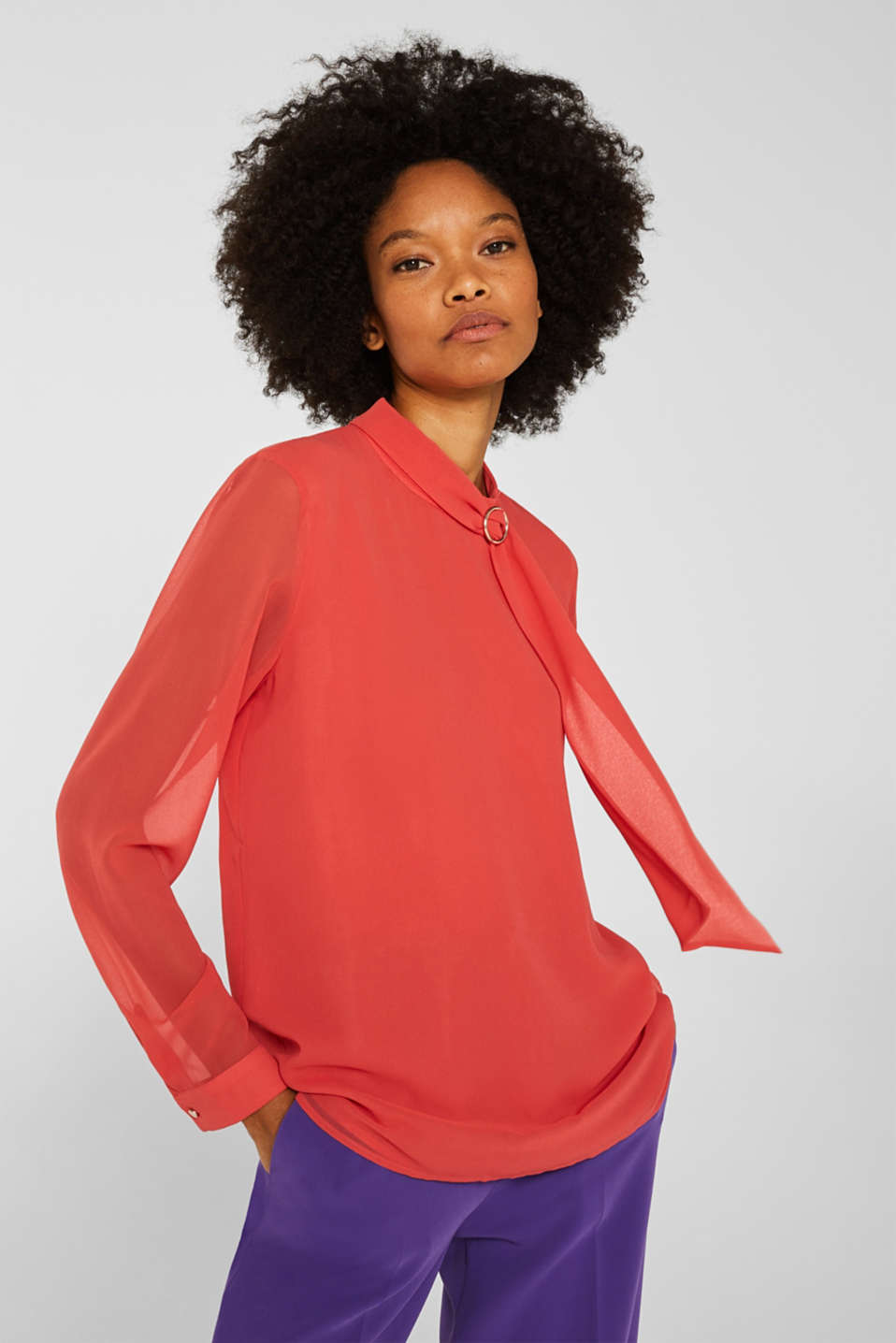 Chiffon blouse with a pussycat bow, TERRACOTTA, detail image number 0