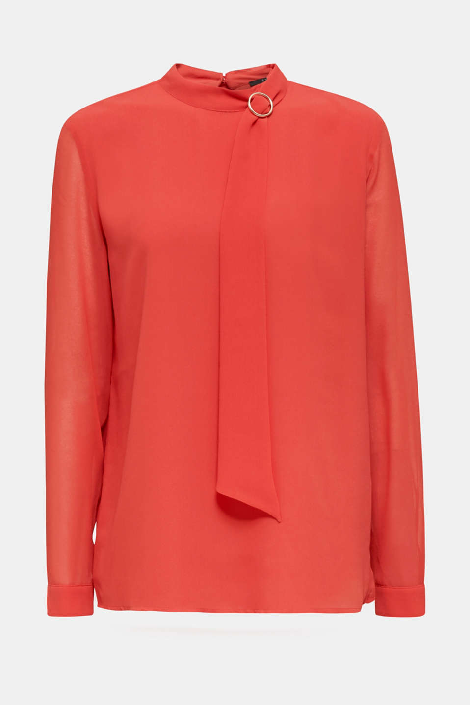 Chiffon blouse with a pussycat bow, TERRACOTTA, detail image number 6