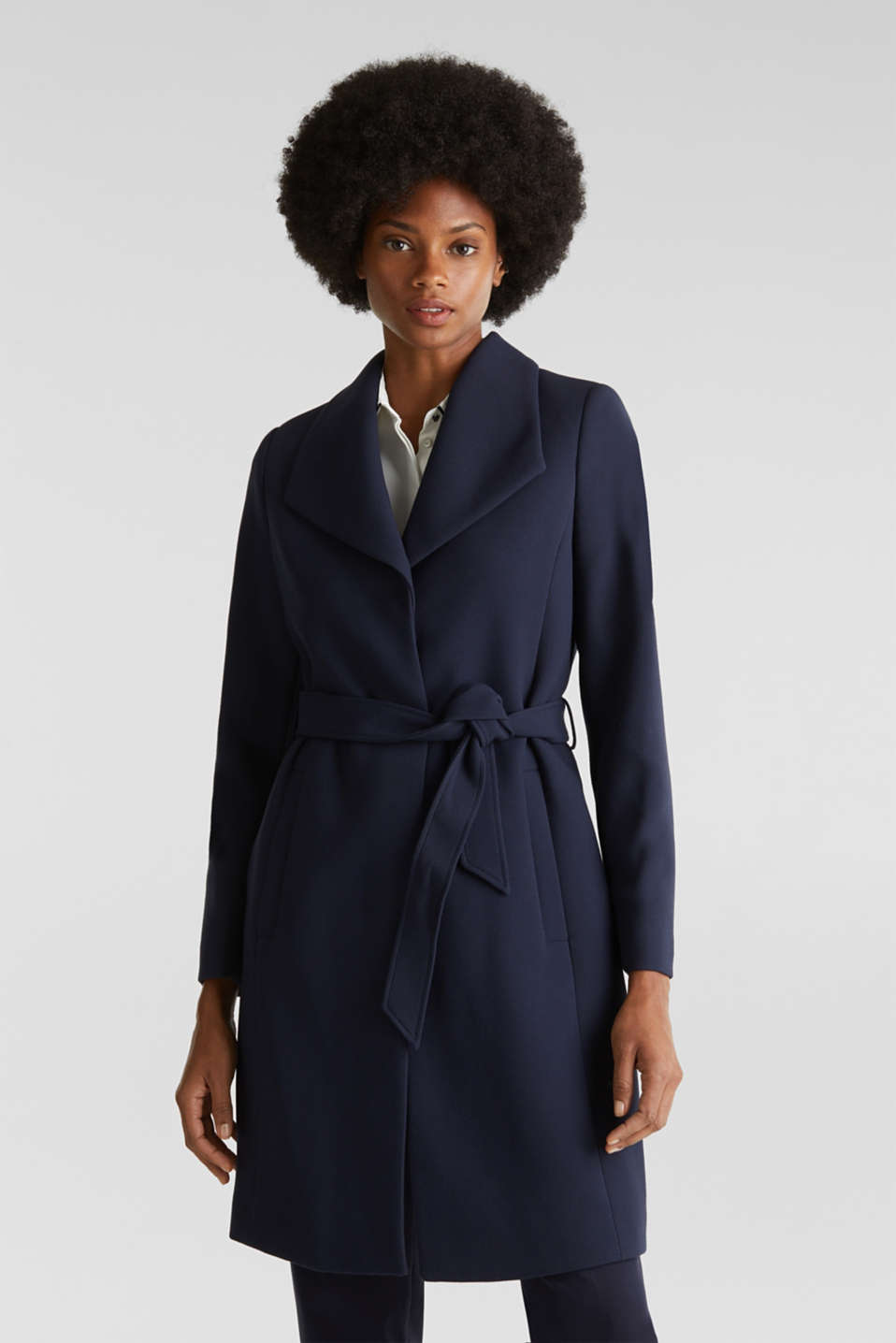 Textured spade collar coat, NAVY, detail image number 0