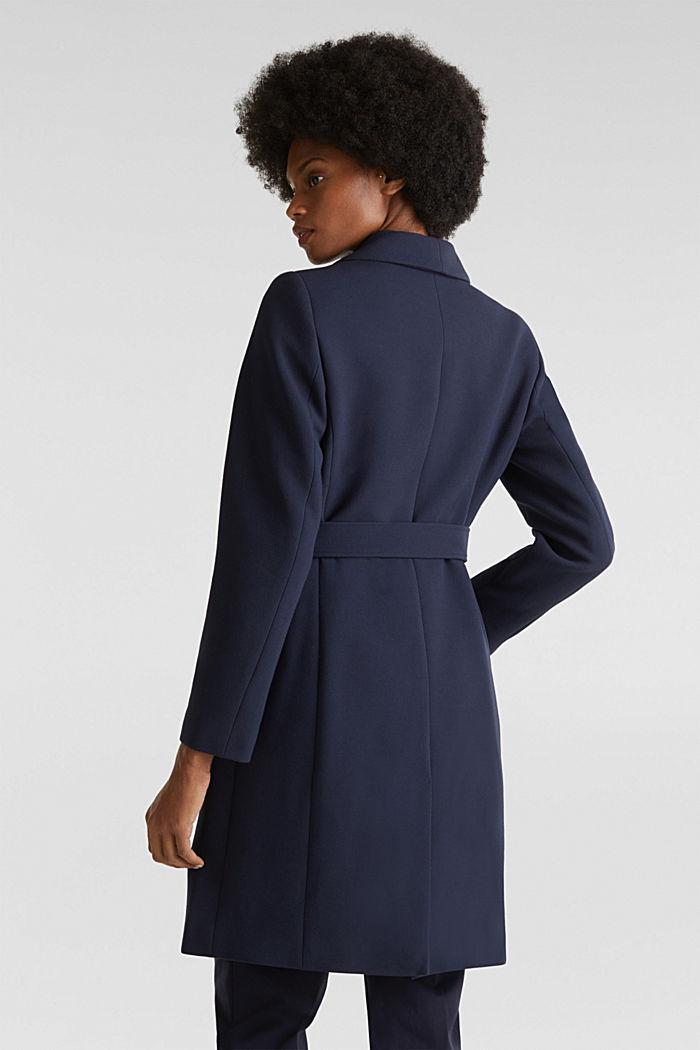 Gestructureerde mantel met openvallende kraag, NAVY, detail image number 3