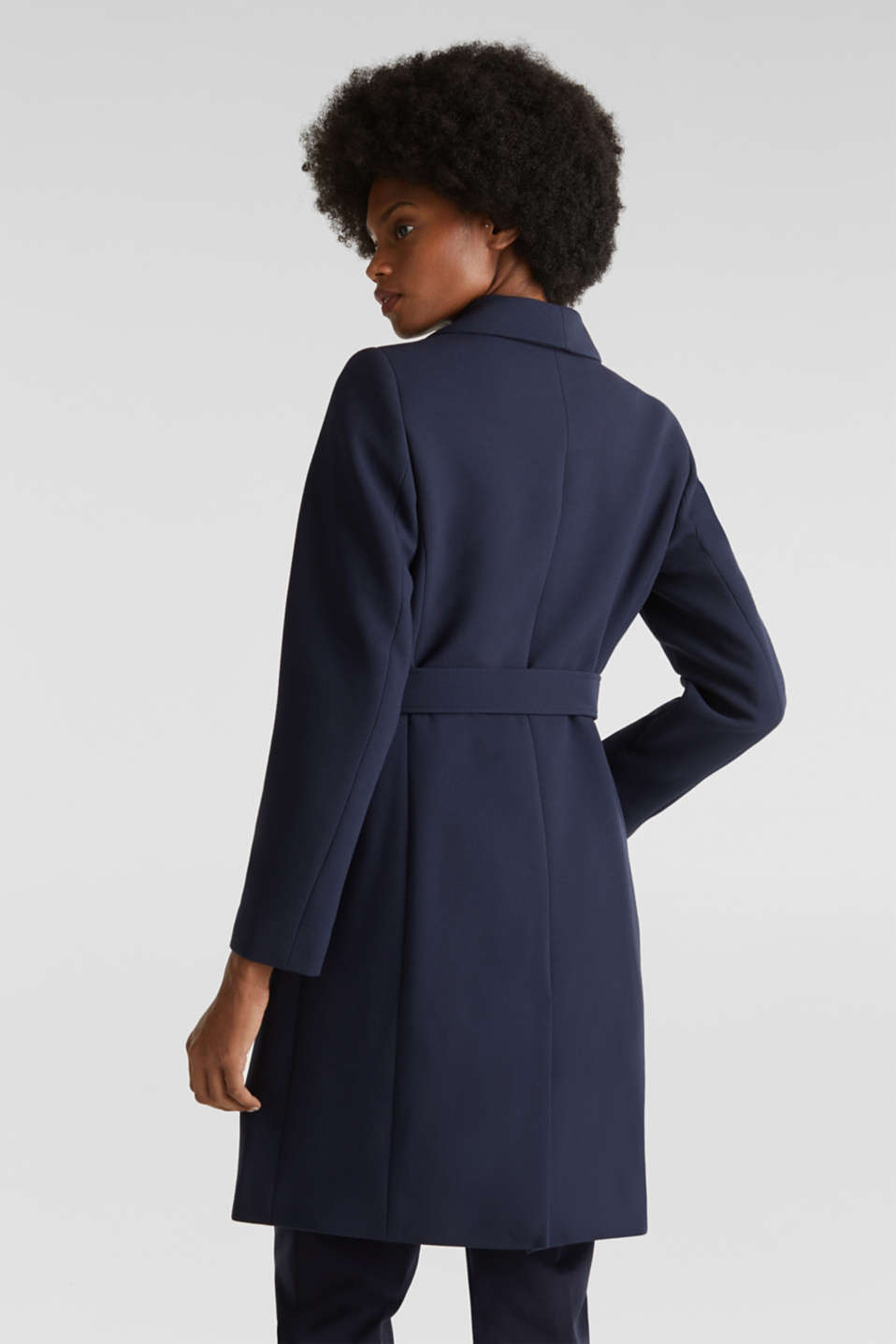 Textured spade collar coat, NAVY, detail image number 3