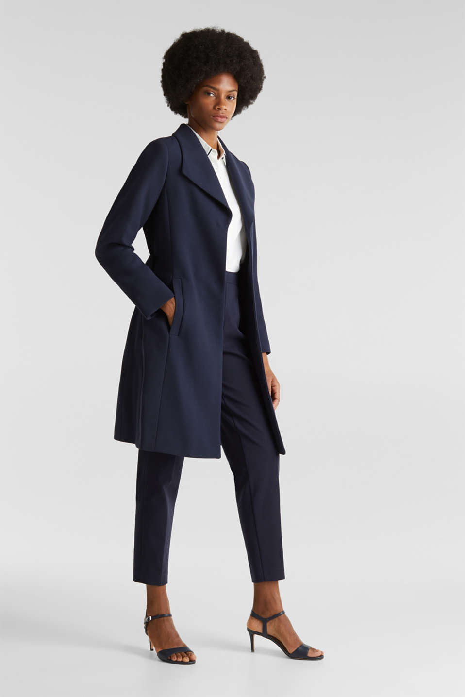 Textured spade collar coat, NAVY, detail image number 1
