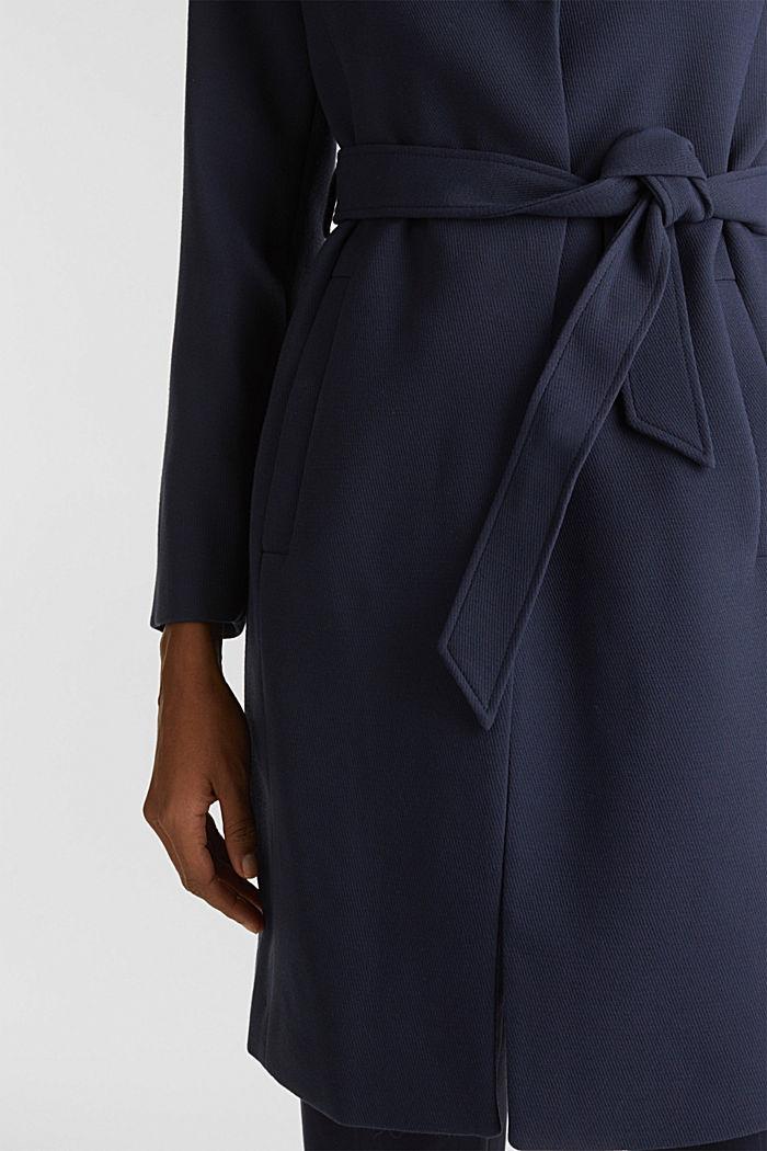 Gestructureerde mantel met openvallende kraag, NAVY, detail image number 2