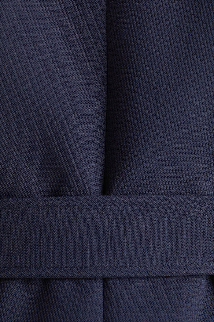 Gestructureerde mantel met openvallende kraag, NAVY, detail image number 4