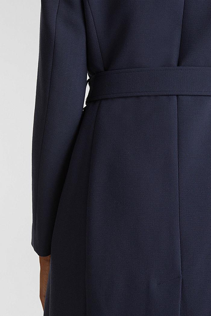 Gestructureerde mantel met openvallende kraag, NAVY, detail image number 5