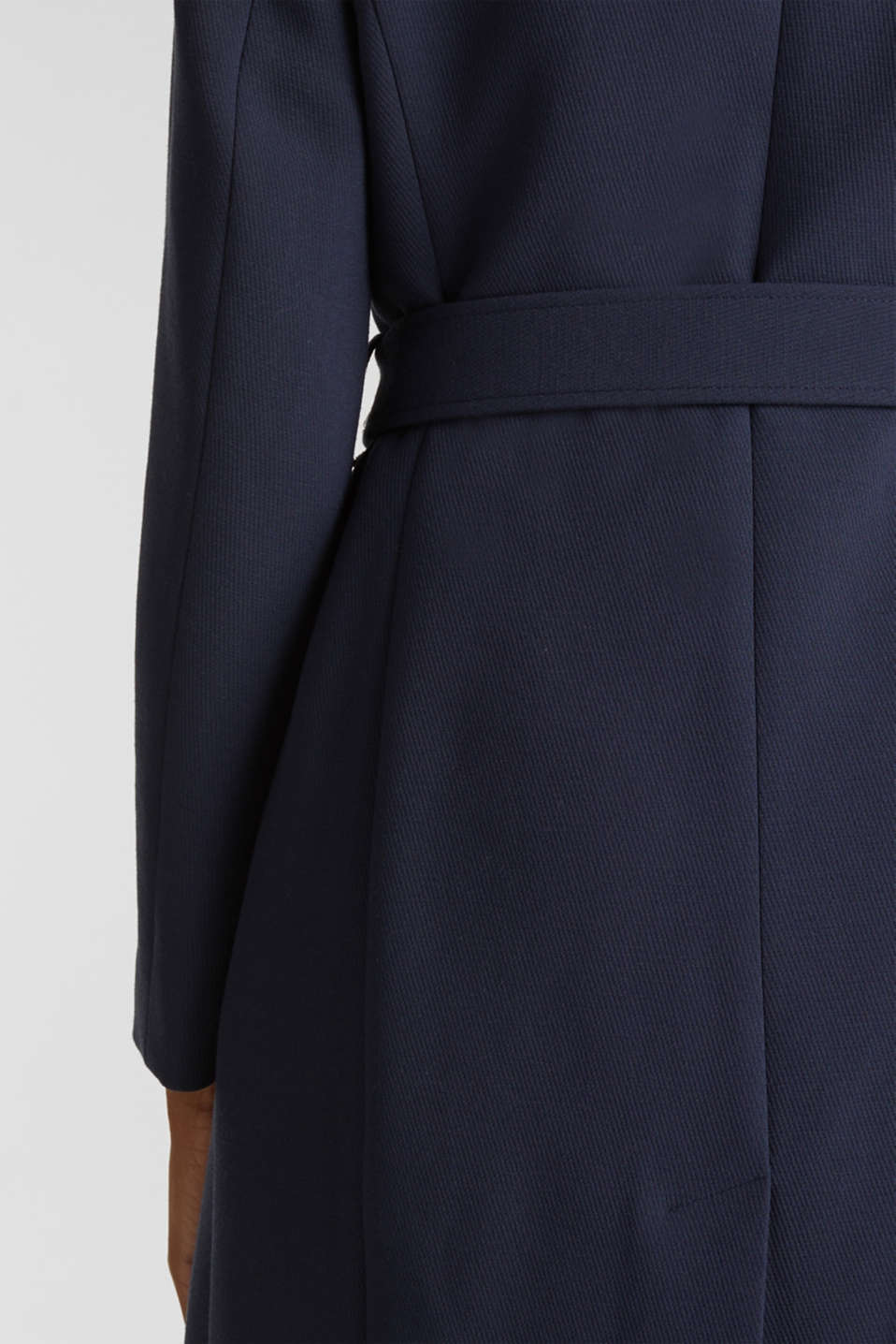 Textured spade collar coat, NAVY, detail image number 5