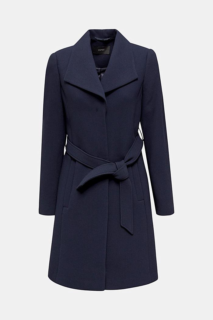 Gestructureerde mantel met openvallende kraag, NAVY, detail image number 6