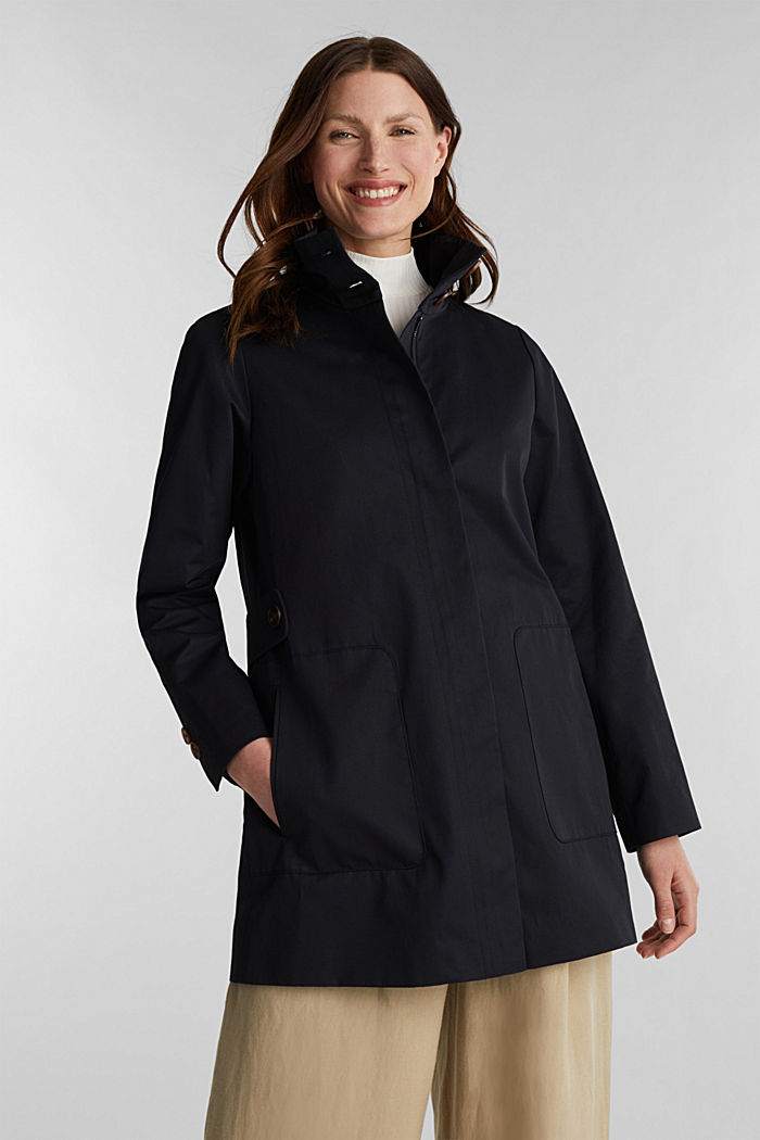 Cotton coat with a high stand-up collar, BLACK, detail image number 0