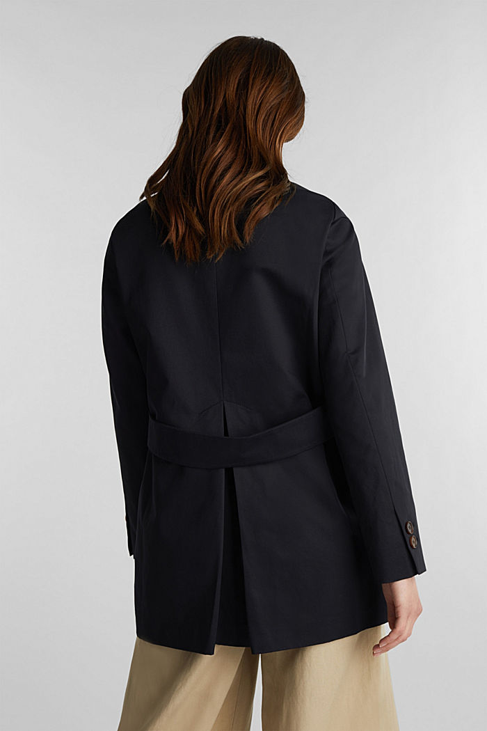 Cotton coat with a high stand-up collar, BLACK, detail image number 3