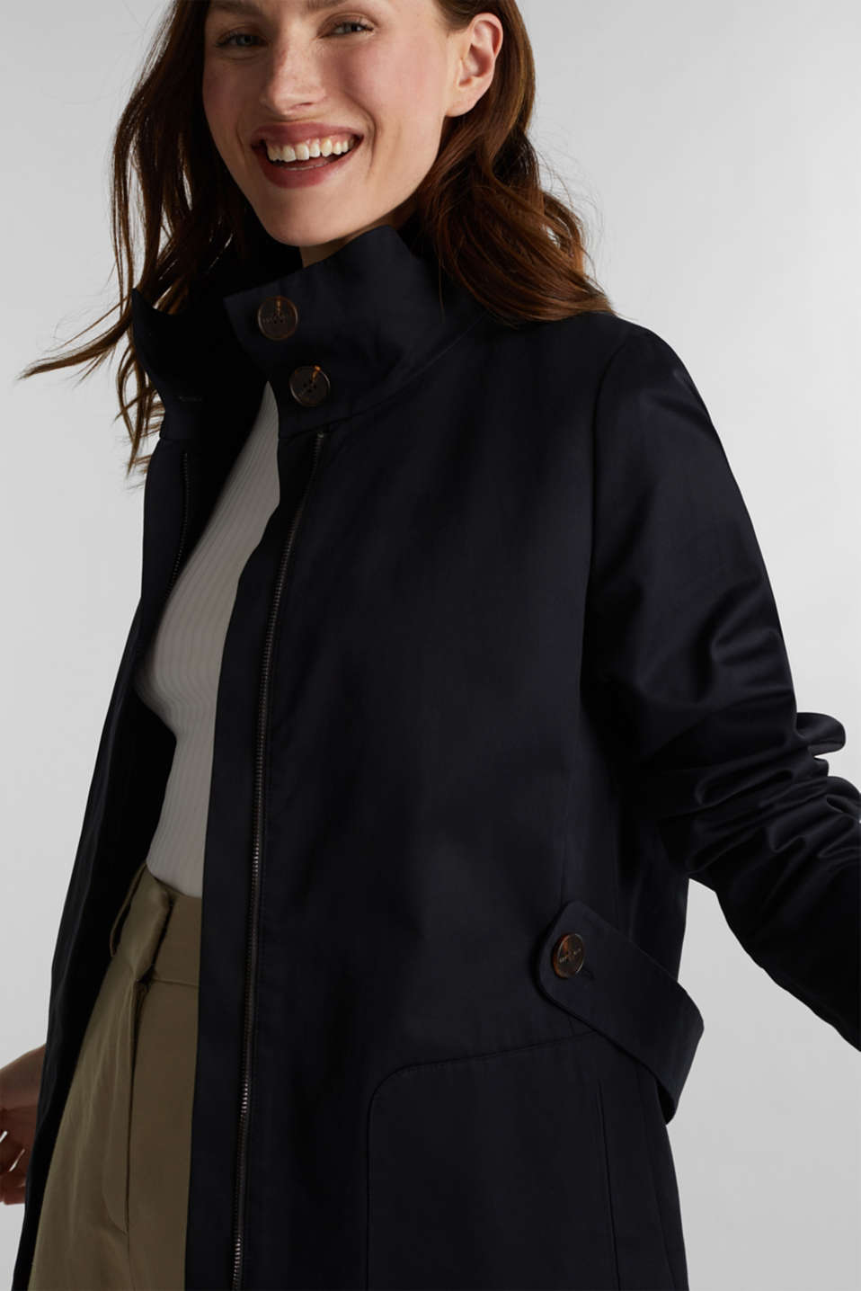 Cotton coat with a high stand-up collar, BLACK, detail image number 5