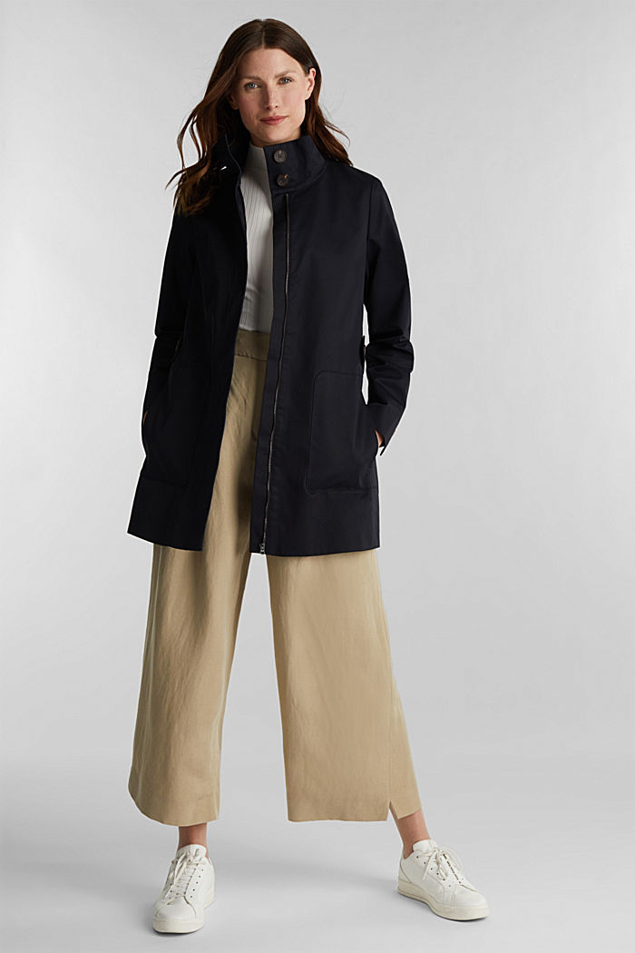 Cotton coat with a high stand-up collar, BLACK, detail image number 1