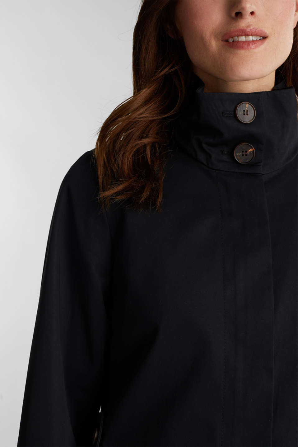 Cotton coat with a high stand-up collar, BLACK, detail image number 2