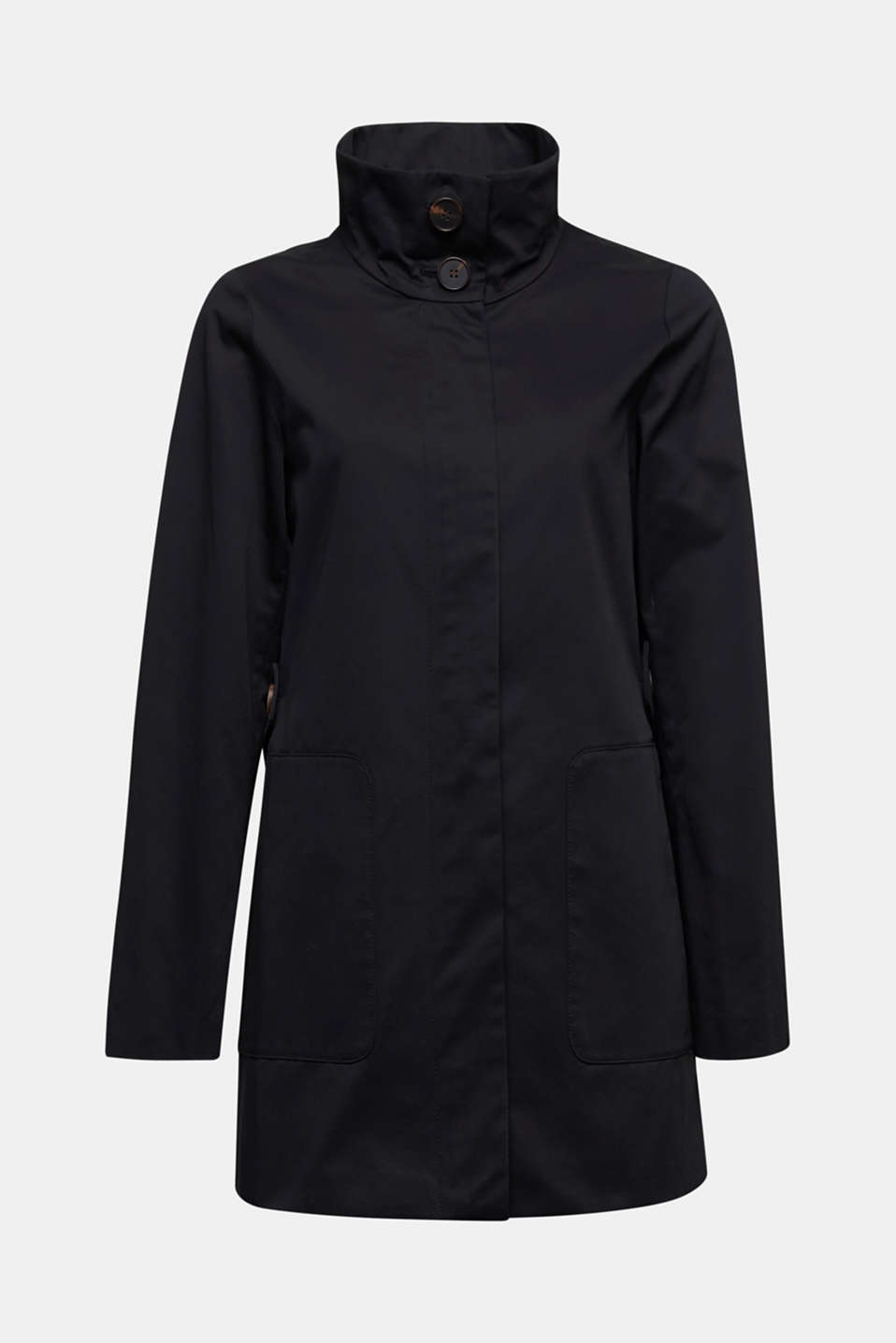 Cotton coat with a high stand-up collar, BLACK, detail image number 6