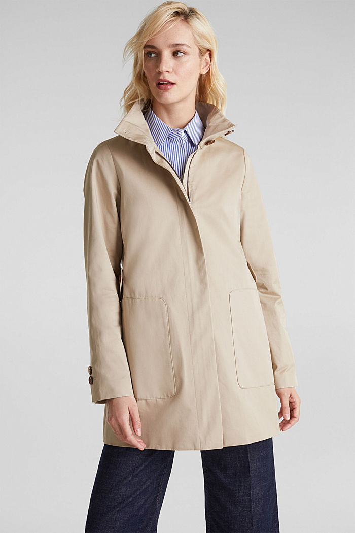 Cotton coat with a high stand-up collar, BEIGE, detail image number 0
