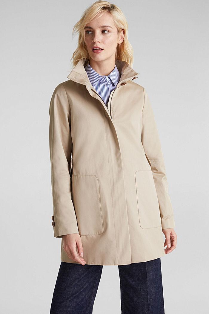 Baumwoll-Mantel mit hohem Stehkragen, BEIGE, detail image number 0