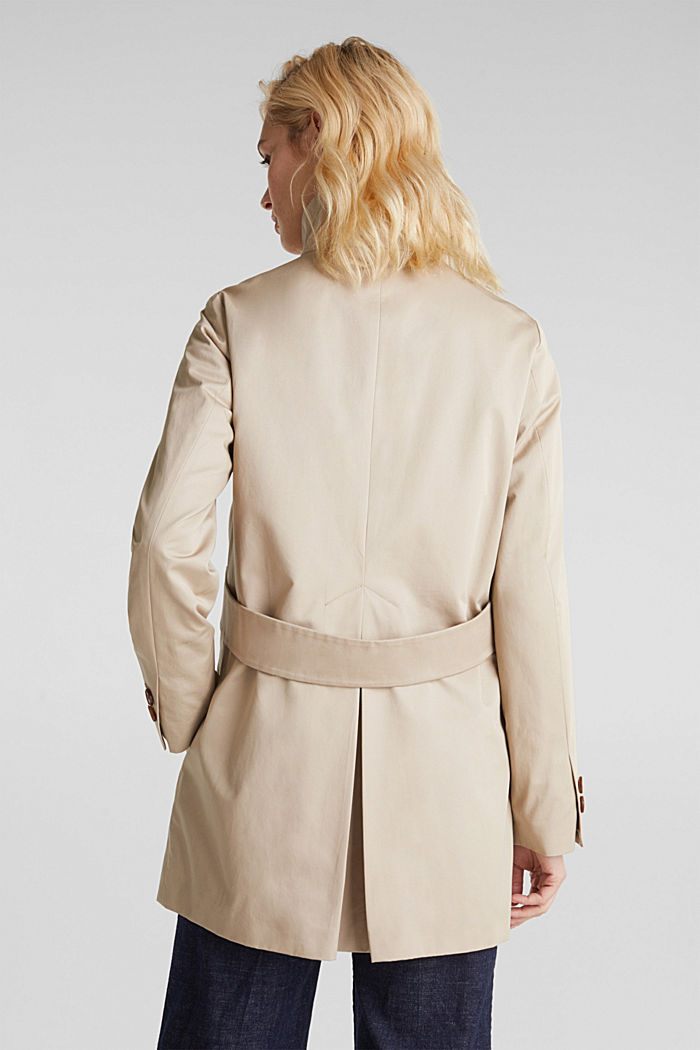 Cotton coat with a high stand-up collar, BEIGE, detail image number 3