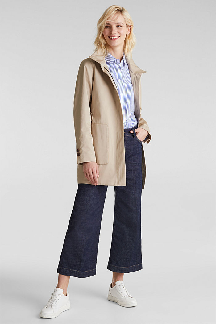 Cotton coat with a high stand-up collar, BEIGE, detail image number 1