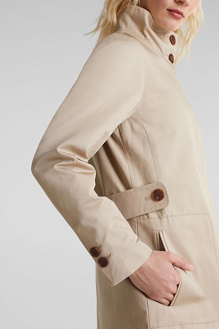 Baumwoll-Mantel mit hohem Stehkragen, BEIGE, detail image number 2
