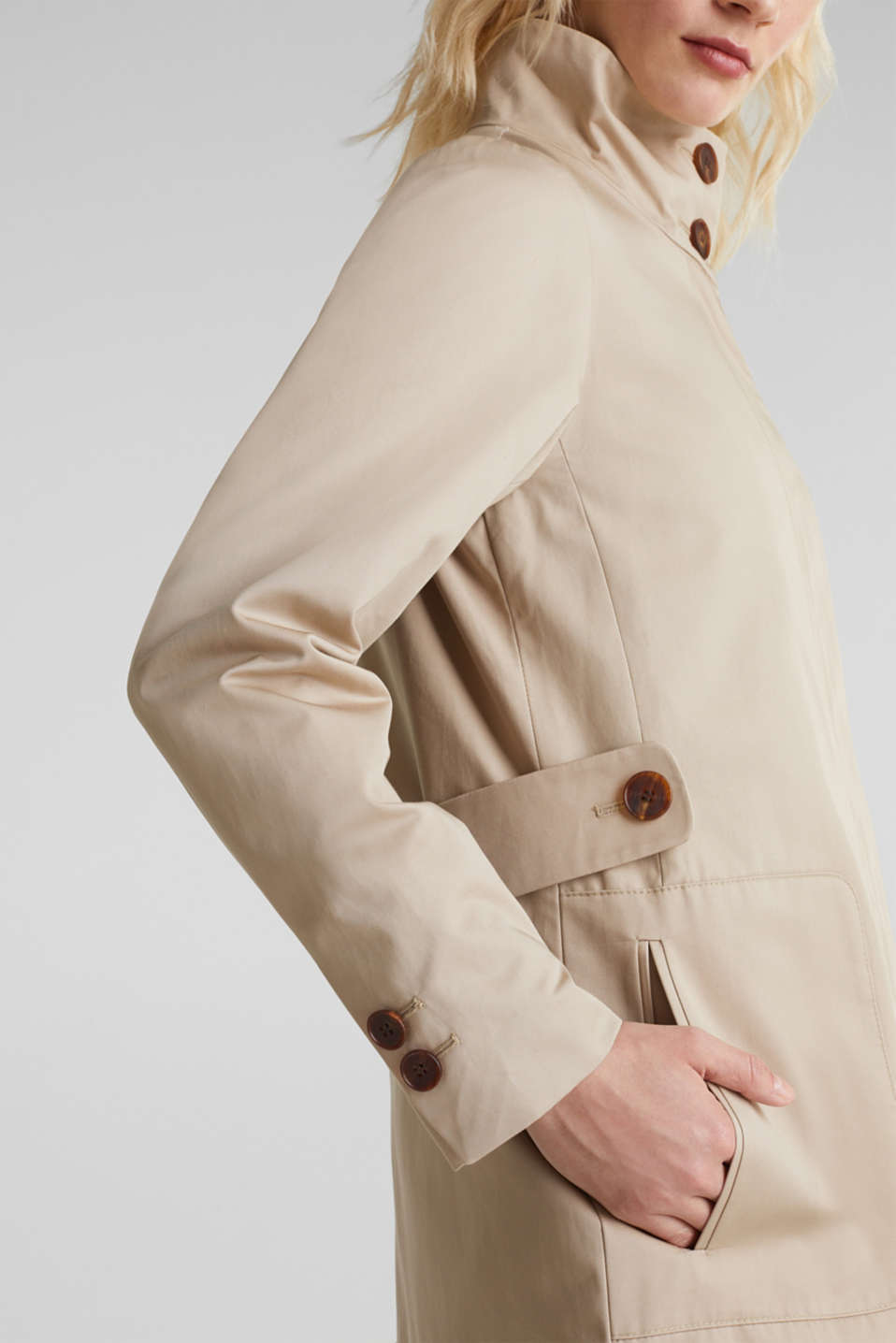 Cotton coat with a high stand-up collar, BEIGE, detail image number 2