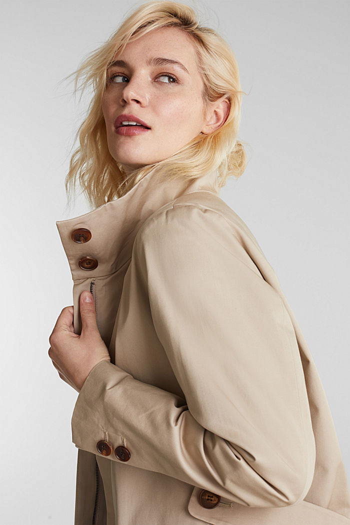 Cotton coat with a high stand-up collar, BEIGE, detail image number 5