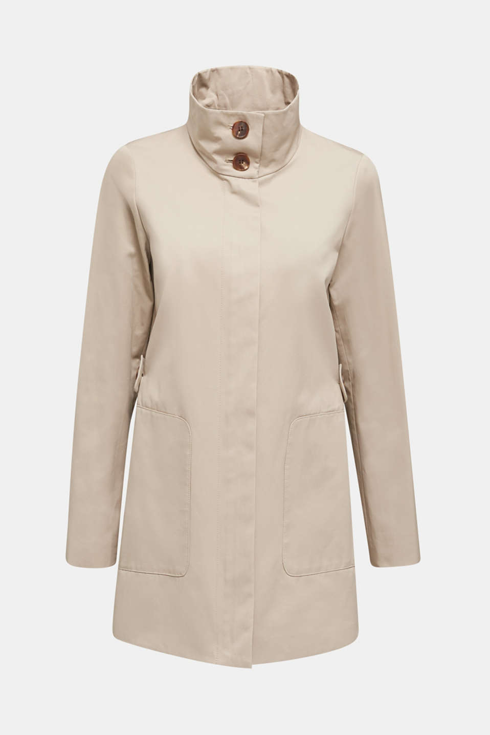 Cotton coat with a high stand-up collar, BEIGE, detail image number 6