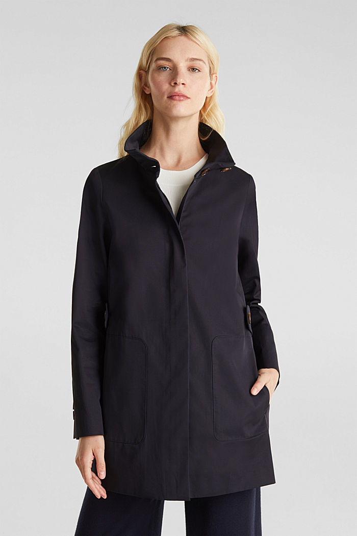 Cotton coat with a high stand-up collar, NAVY, detail image number 0