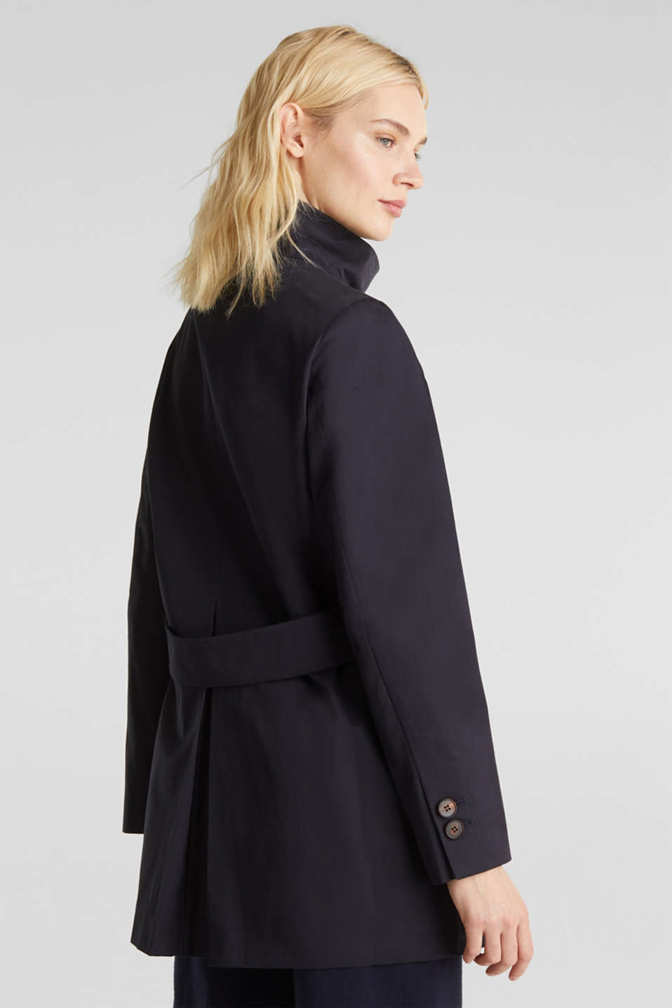 Cotton coat with a high stand-up collar, NAVY, detail image number 3