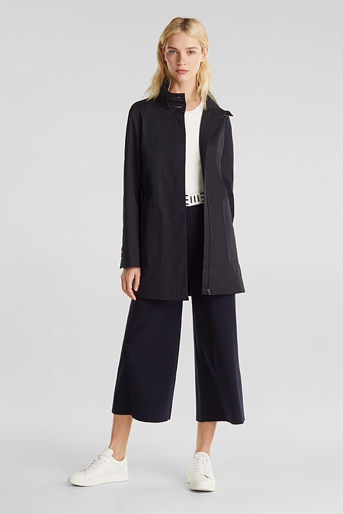 Cotton coat with a high stand-up collar, NAVY, detail image number 1