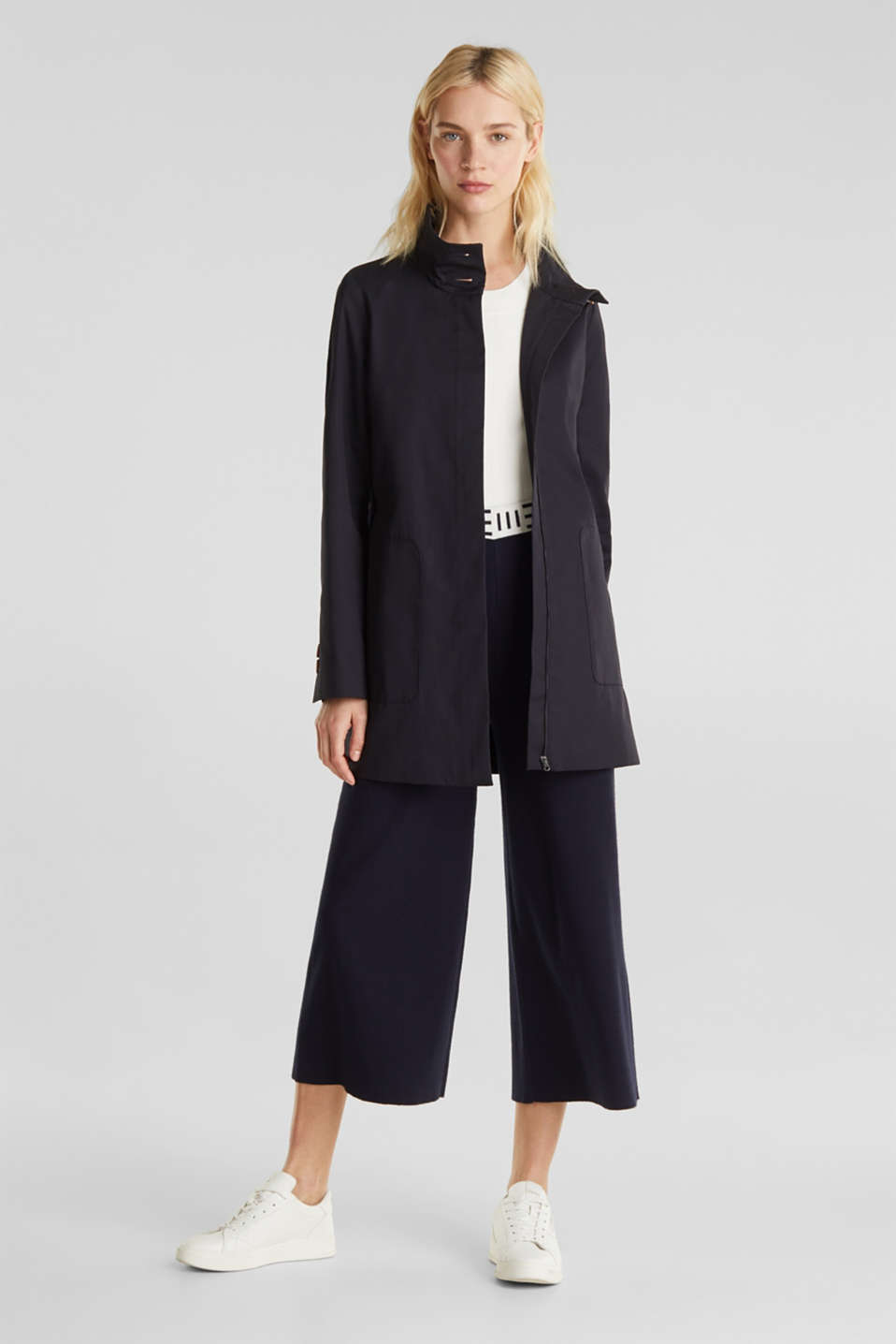 Cotton coat with a high stand-up collar, NAVY, detail
