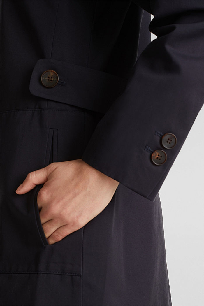 Cotton coat with a high stand-up collar, NAVY, detail image number 2