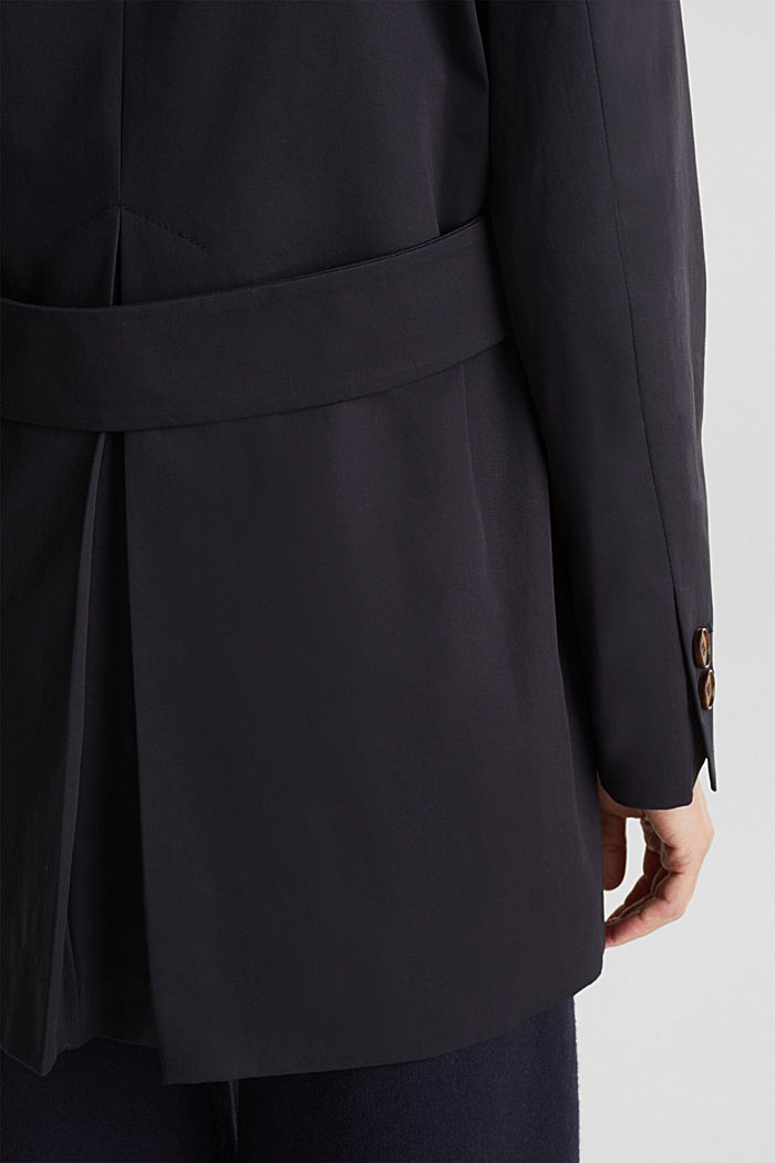 Cotton coat with a high stand-up collar, NAVY, detail image number 5
