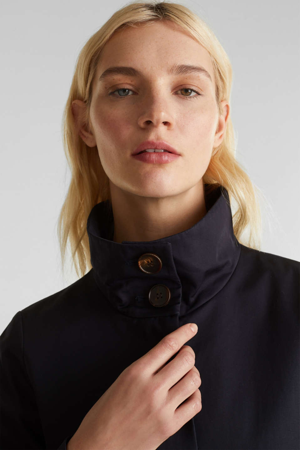 Cotton coat with a high stand-up collar, NAVY, detail image number 6