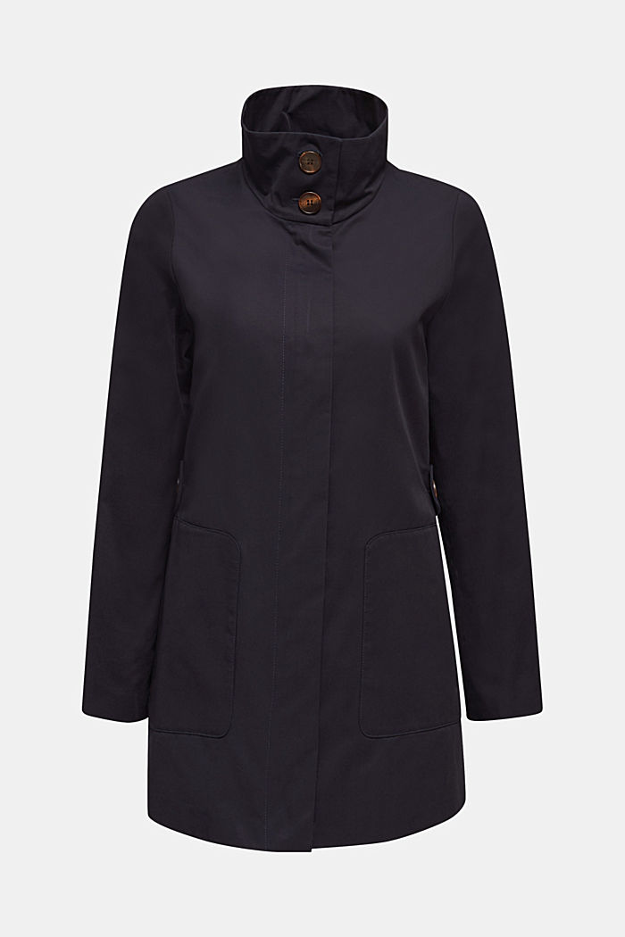 Cotton coat with a high stand-up collar, NAVY, detail image number 7
