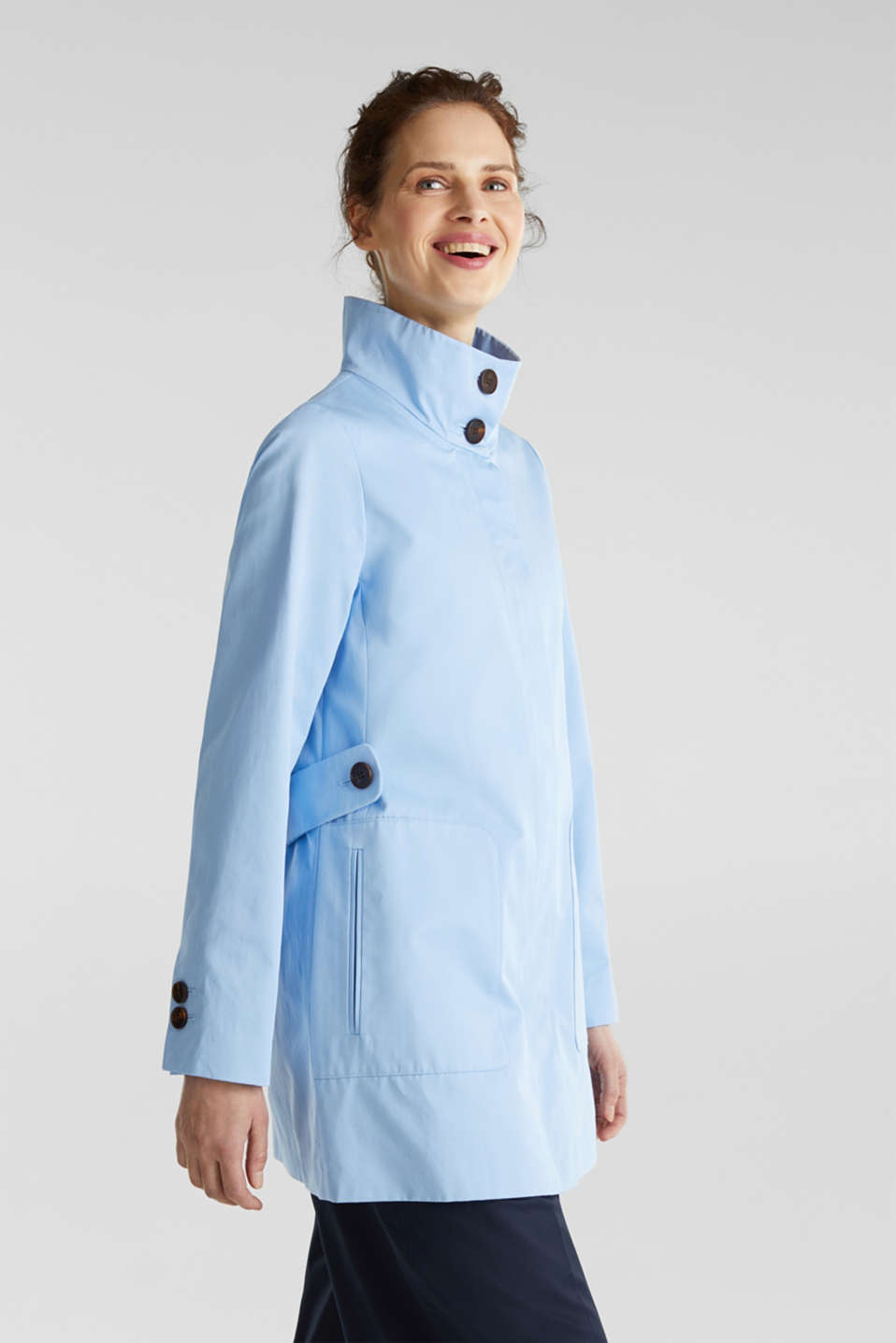 Cotton coat with a high stand-up collar, LIGHT BLUE, detail image number 0