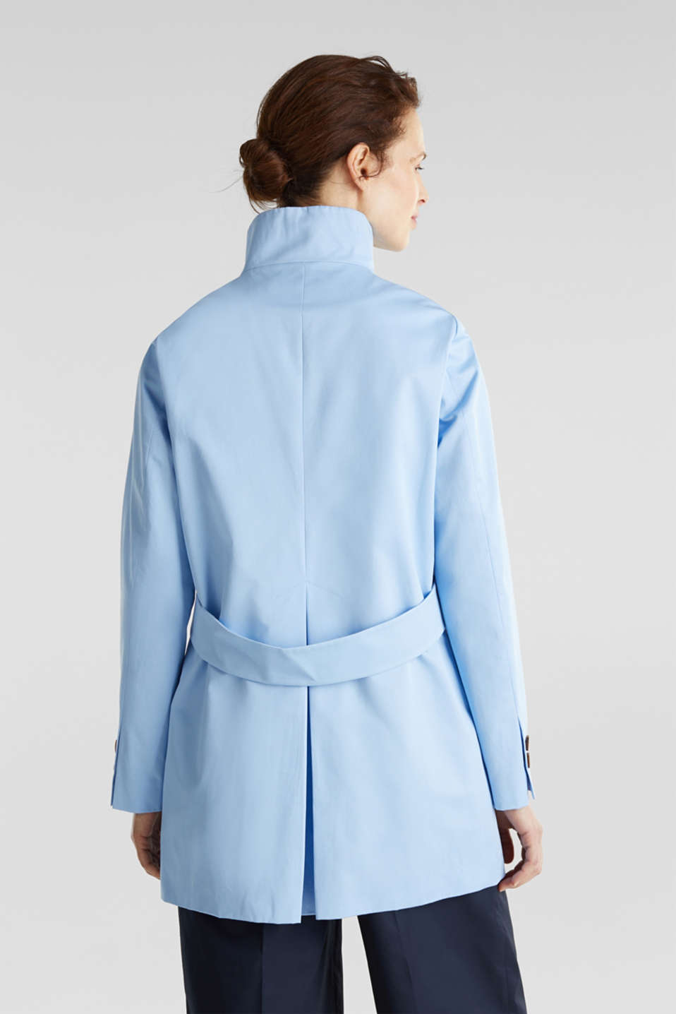 Cotton coat with a high stand-up collar, LIGHT BLUE, detail image number 1