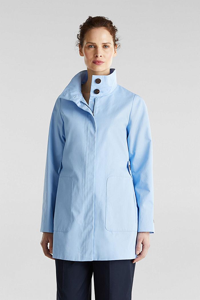 Baumwoll-Mantel mit hohem Stehkragen, LIGHT BLUE, detail image number 4
