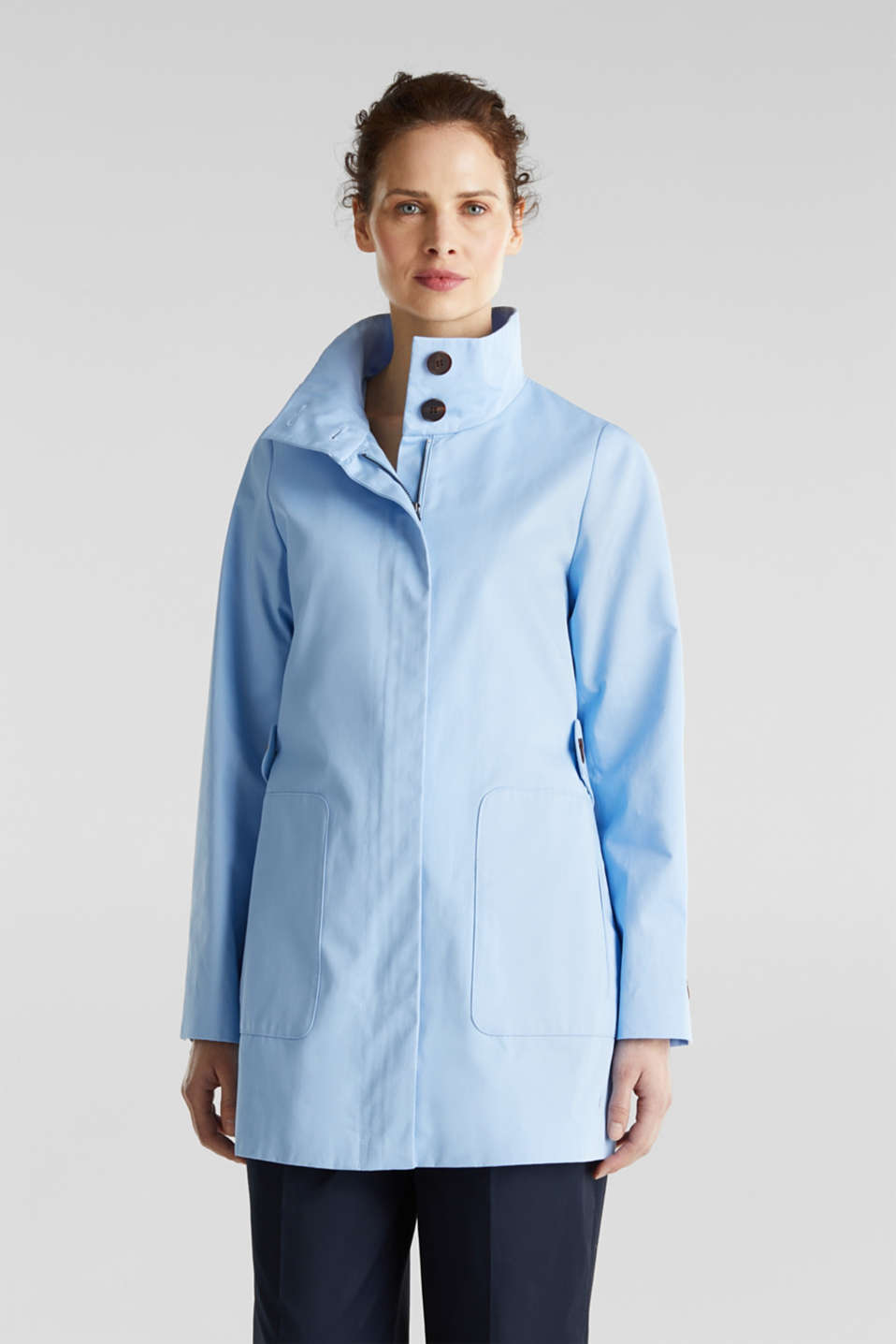 Cotton coat with a high stand-up collar, LIGHT BLUE, detail image number 4