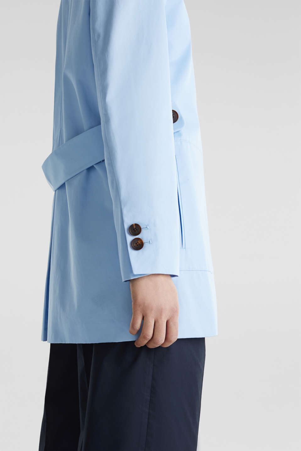 Cotton coat with a high stand-up collar, LIGHT BLUE, detail image number 3