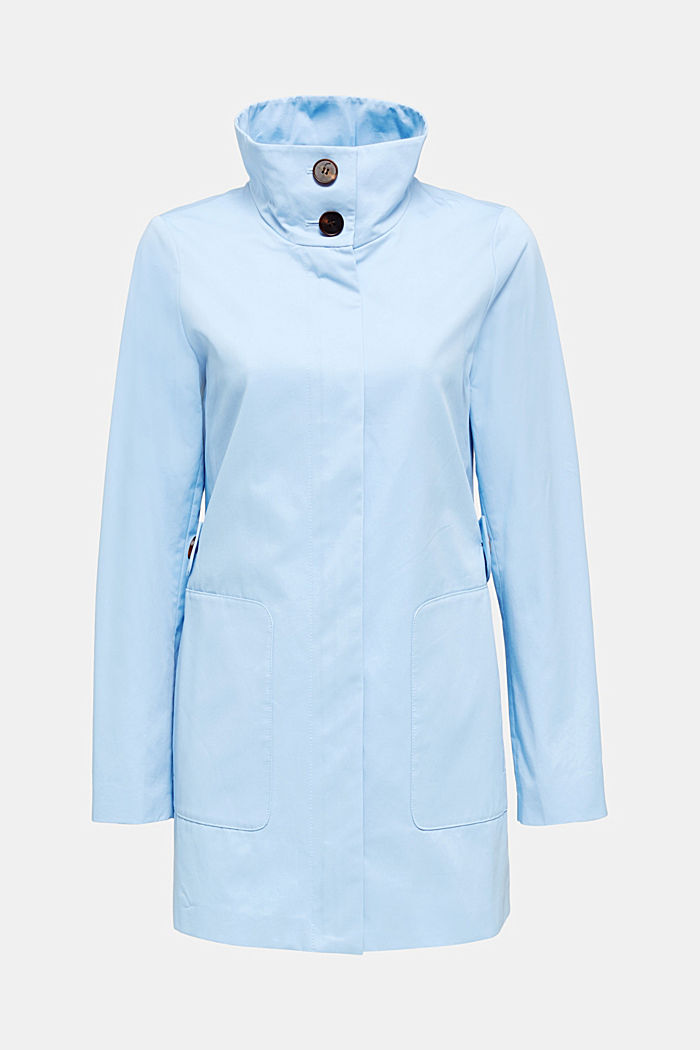 Cotton coat with a high stand-up collar