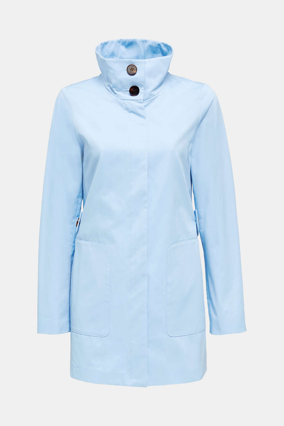 Cotton coat with a high stand-up collar, LIGHT BLUE, detail image number 5