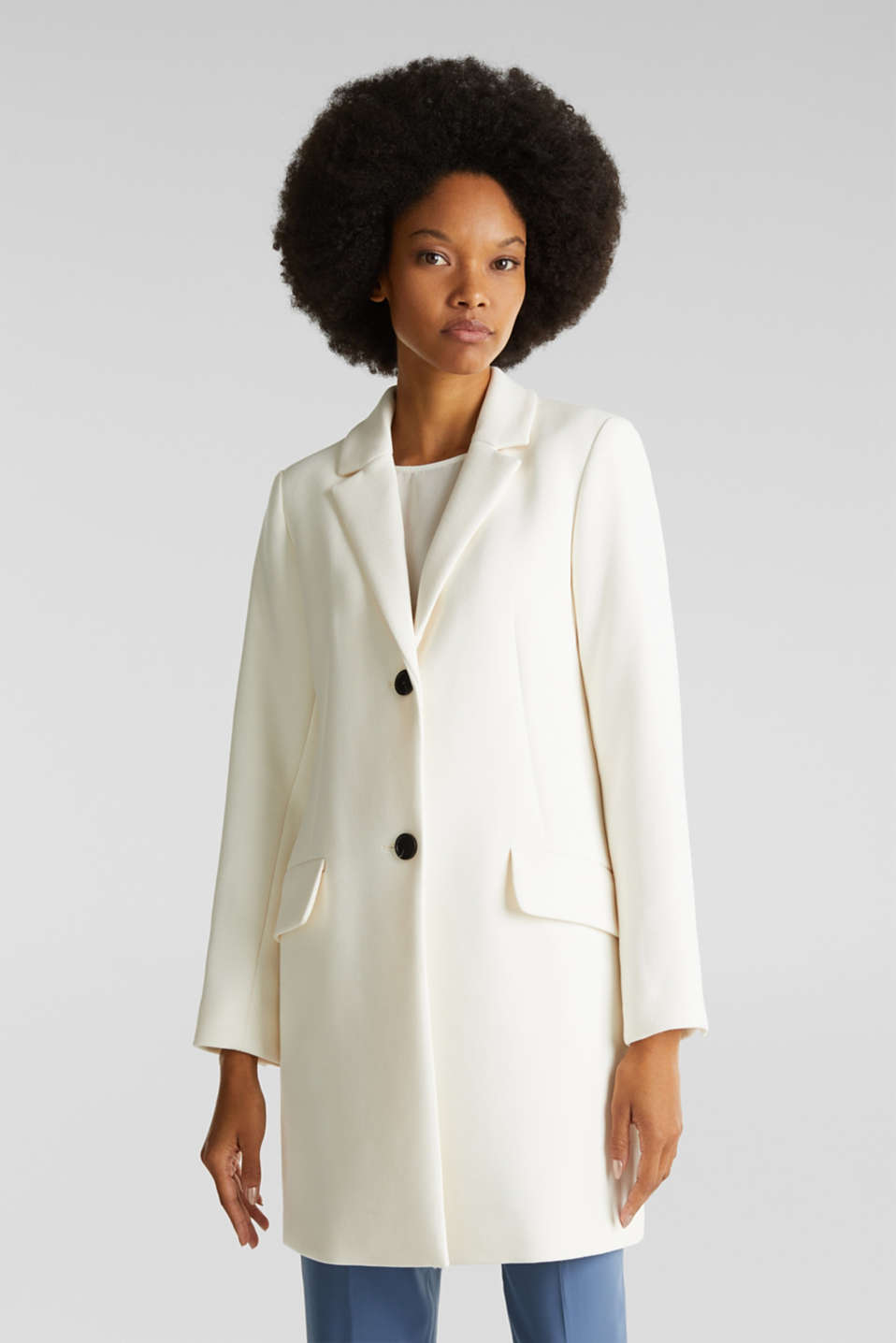 Blazer coat with a fine texture, OFF WHITE, detail image number 0