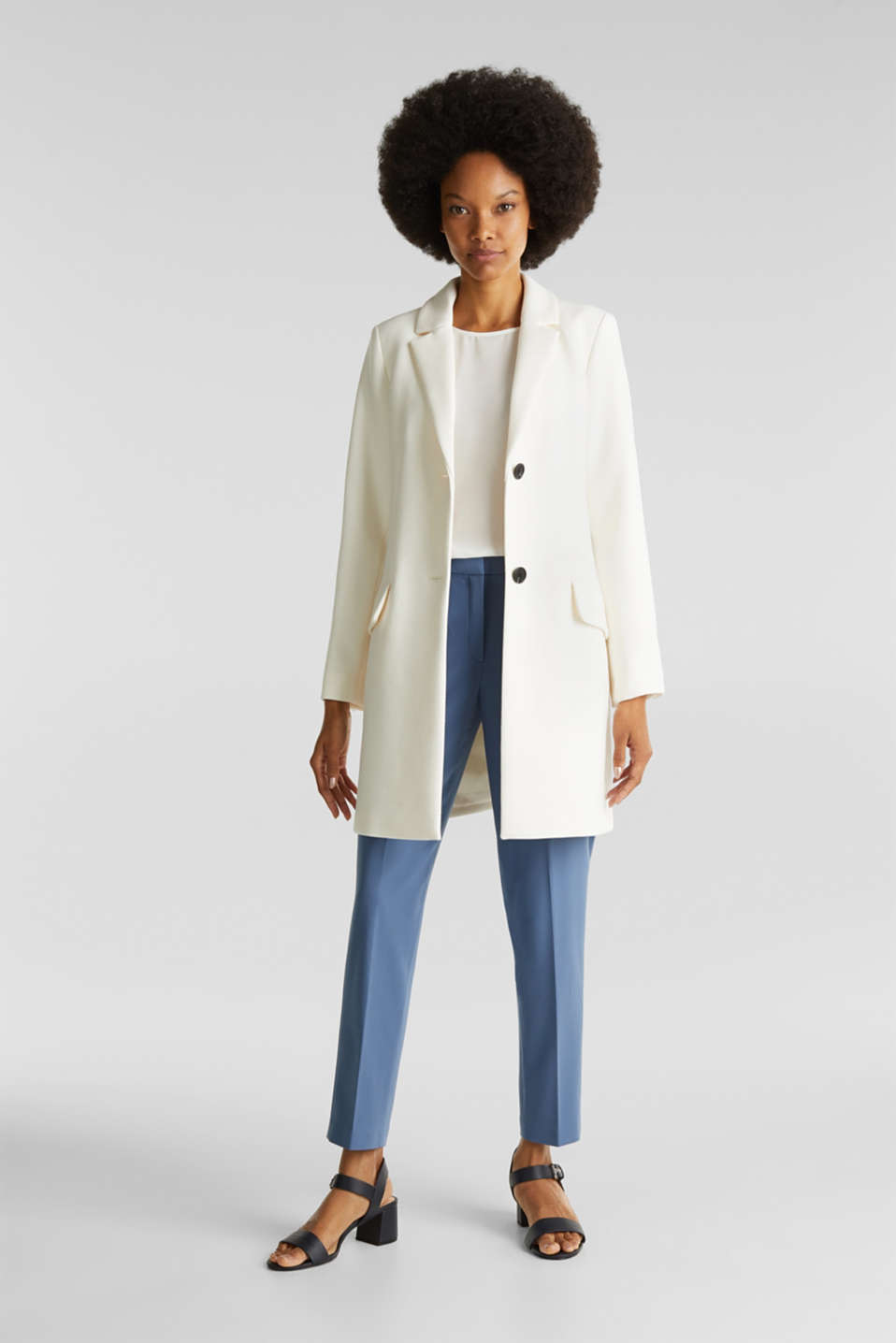 Blazer coat with a fine texture, OFF WHITE, detail image number 1