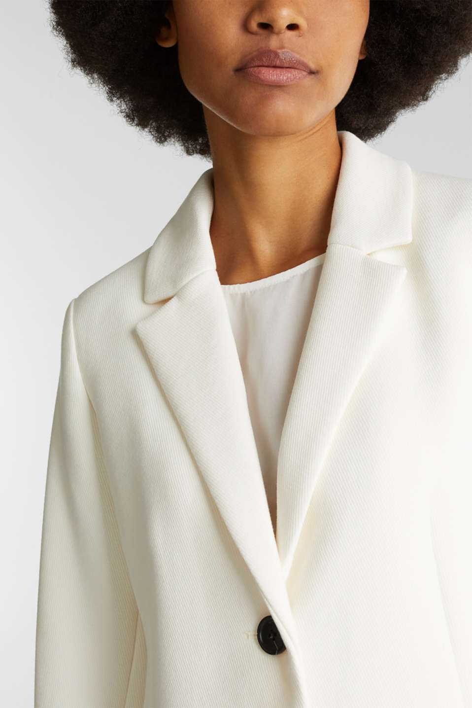 Blazer coat with a fine texture, OFF WHITE, detail image number 2