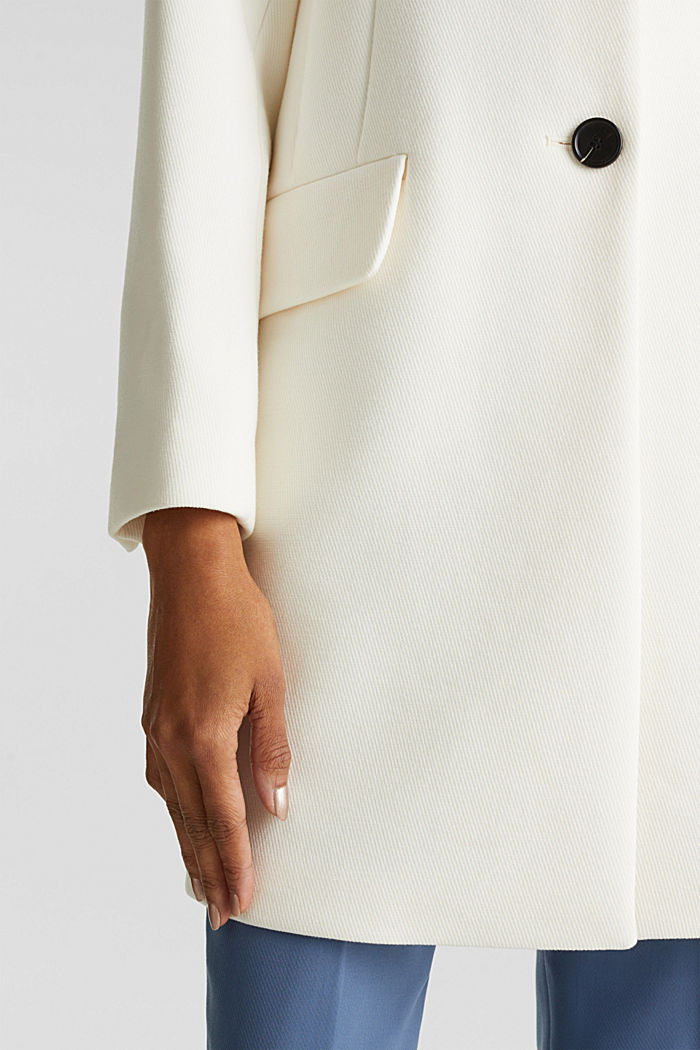Blazer coat with a fine texture, OFF WHITE, detail image number 5