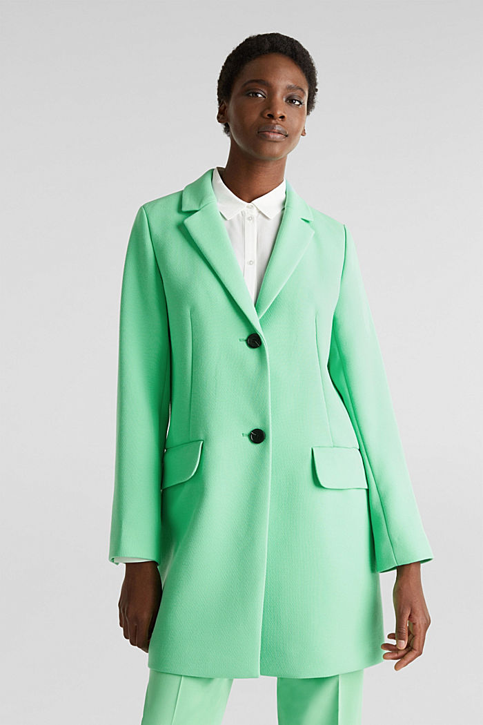 Blazer coat with a fine texture, LIGHT GREEN, detail image number 0